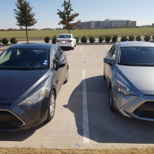 Two 2016 Scion iA's next to each other at work!